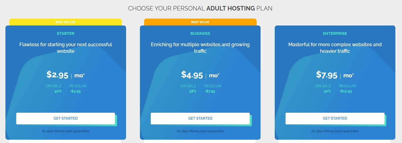 TMD Adult Hosting Pricing Plans